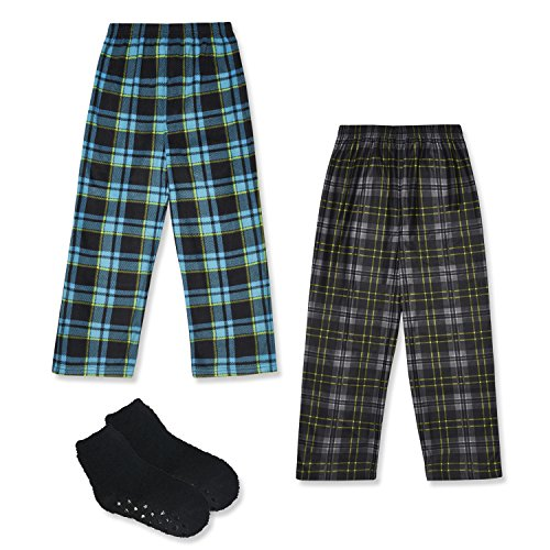 Mad Dog Boy's 2-Pack Plaid Pajama Pants + Slipper Socks (Sizes 4-16)