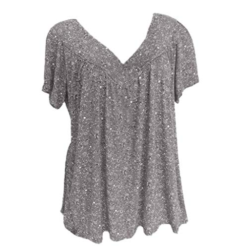 Sunmoot Clearance Sale Plus Size T Shirt for Women Short Sleeve Print Tops Ladies V-Neck Casual Blouse Shirt Tunic Gray