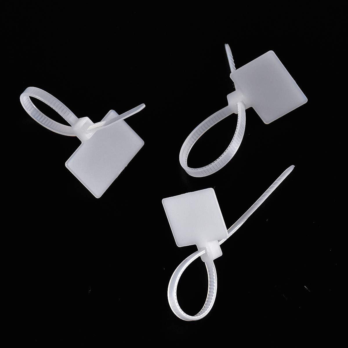 100 mm, autocierre, con marcador de etiquetas, soporte de cable ajustable, gesti/ón de cables para Home Office Garage en la gesti/ón de cables Set de 200 bridas para cables con etiquetas blancas