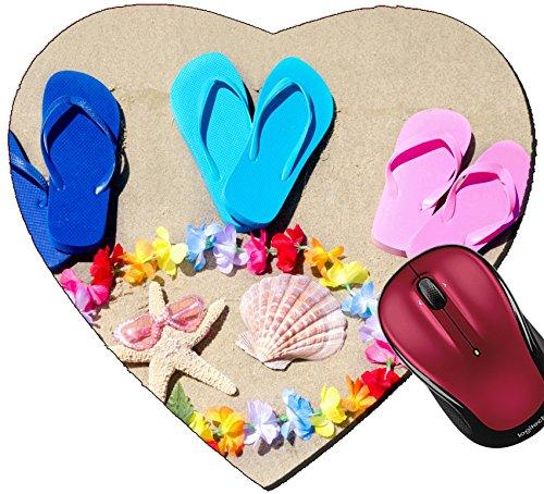 Liili Mousepad Heart Shaped Mouse Pads/Mat ID: 29121890 Flip Flops Seashell and Starfish on The Sandy Beach