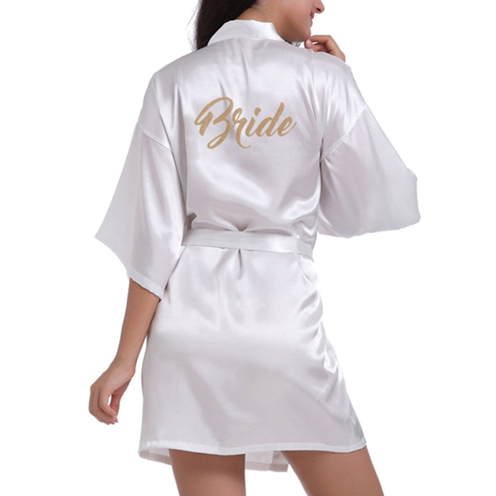 Yying Bride Robes Satin Bridal Party Robe Dressing Gown Morning of Wedding Day Robes Glitter Bride Kimono Bathrobe