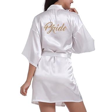 JiXuan Femmes Robe Mariée Court Kimono Robe Soie Satin Robes pour des  Cadeaux Mariage avec des 1c8c3d6a1e1