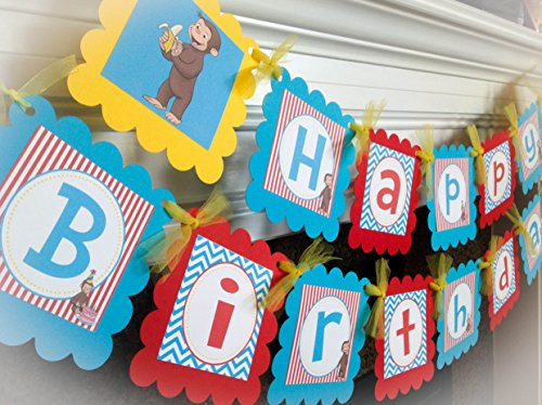 Curious George Inspired Happy Birthday Banner - Turquoise Chevron, Red Stripes & Yellow Accents - Party Packs Available