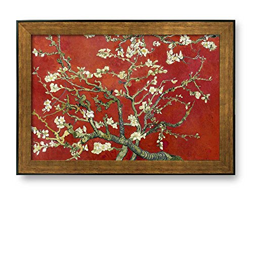 Framed Art Almond Blossoms by Vincent Van Gogh Interpretation in Red Reproduction Famous Painting Wall Decor