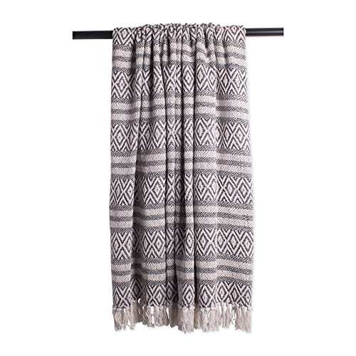 DII Rustic Farmhouse Cotton Adobe Stripe Blanket Throw with Fringe For Chair, Couch, Picnic, Camping, Beach, Everyday Use, 50 x 60 - Adobe Stripe Mineral Rustic Stripe