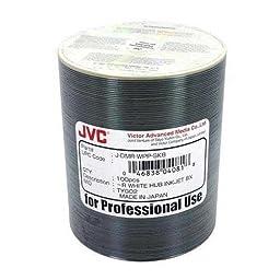 JVC Taiyo Yuden (JDMR-WPP-SK8) 8X DVD-R White Inkjet Hub Printable Media - 100 Pack