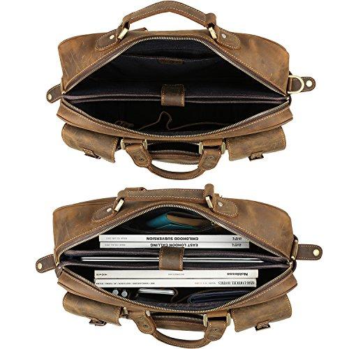 Kattee Men's Crazy-horse Leather Briefcase Luggage Handbag Shoulder Bag, Fit 16.5'' Laptop by Kattee (Image #4)