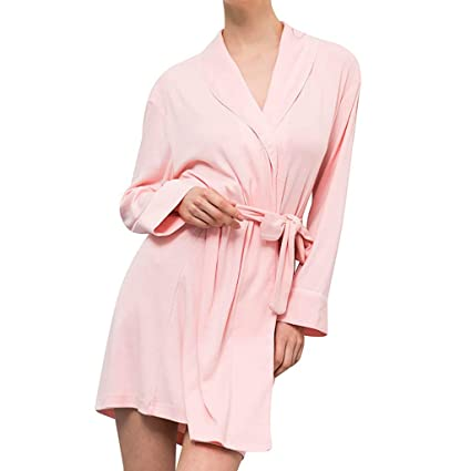 Amazon.com: Womens Lapel Kimono Robe Solid Spa Comfortable ...