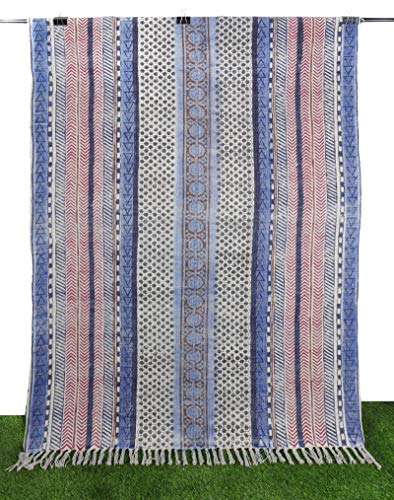Bhavya International Cotton Dari Floor Rug Hippie Mat Geometric Design Dhurrie Kitchen Carpet Bohemian Throw 4x6ft Antique Runner Area Rug Multi