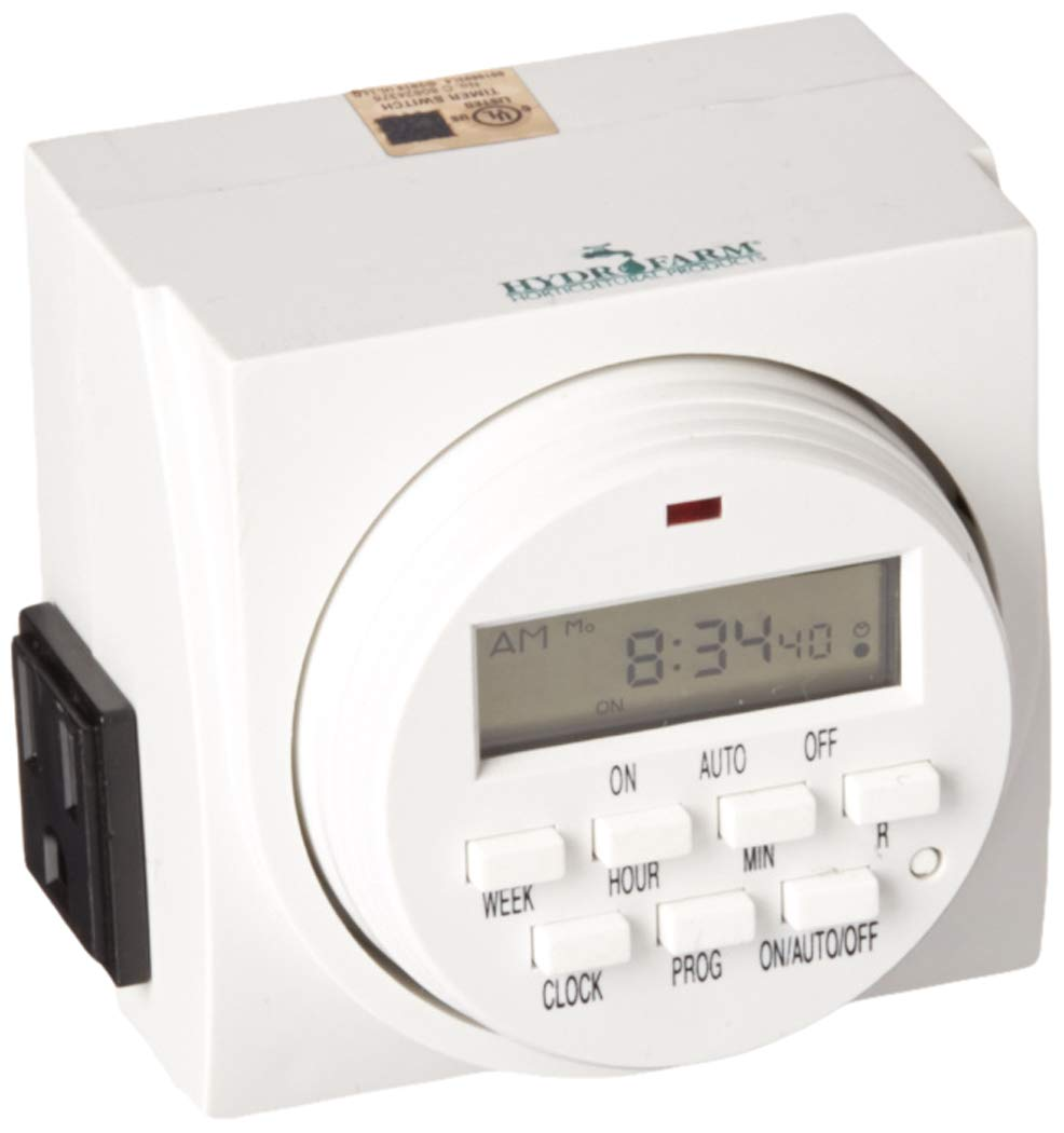 Hydrofarm TM01715D Dual Outlet 7-Day Grounded Digital Programmable Timer, 1725W, 15A, 1 Second On/Off