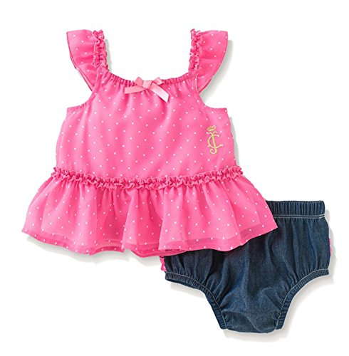 - Juicy Couture Baby Girls' Printed Chiffon Top with Denim Ruffle Panty, Fuchsia, 3-6 Months