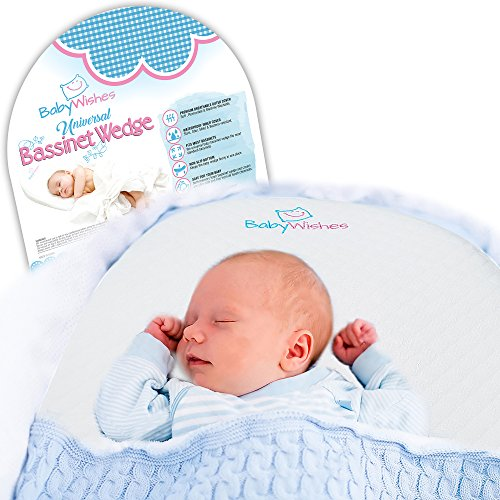 Universal Bassinet Wedge Incline Pillow for Better Baby Sleep by Baby Wishes | Acid Reflux and Newborn Nasal Congestion Reducer | Memory Foam Premium Breathable Cover | Grip Bag and Ebook Bonus by Baby Wishes