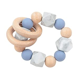 Wooden Baby Teething Toy-Teether Nursing Bracelet Silicone Teething Beads-Food Grade Silicone Molar Toys-Organic Kids Molar Bracelet Made of Natural Wood (Light Blue)
