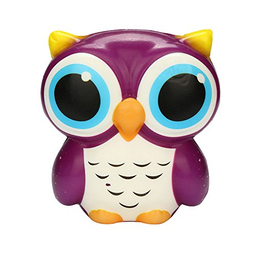 WFFO Slow Rising Squishy Toy, Adorable Owl Squishy Slow Rising Cartoon Doll Cream Scented Stress Relief Toy for Kids Party Toys Stress Reliever Toy (Purple)