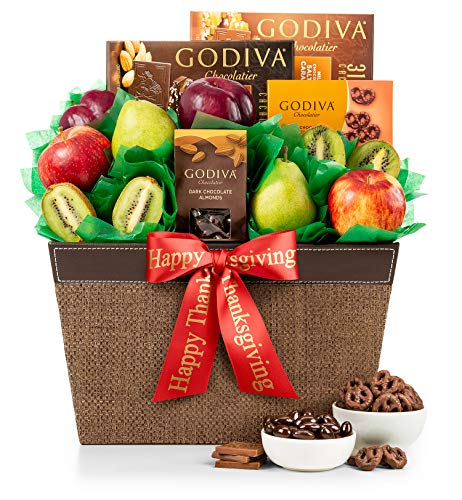 GiftTree Thank You Fresh Fruit and Godiva Chocolates Gift Basket | Includes Gourmet Chocolates and Confections from Godiva | Fresh Pears, Crisp Apples, Juicy Kiwis and Plums in a Keepsake Container