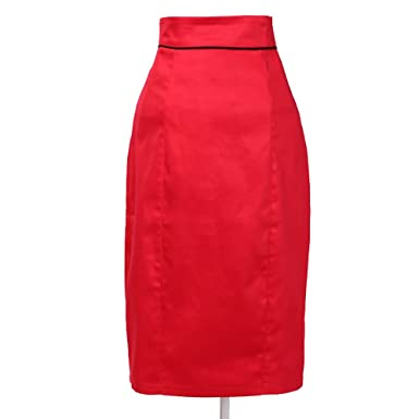 Candow Look Womens 50 s Clothing High Waisted Pin-up Pencil Skirt Red  Vintage Design Small 128092467