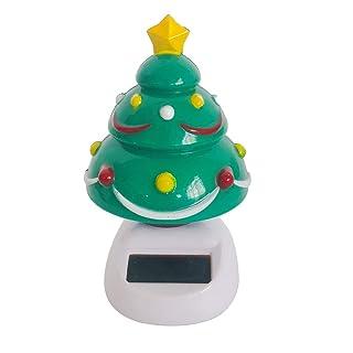 Fenteer Ornamento Solare Giocattolo per Scrivania Interna Tabella Automobile - Albero di Natale