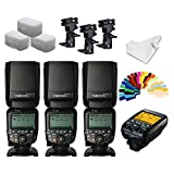 YONGNUO YN600EX-RT II Flash Speedlite 3pcs ETTL 1/8000s Optical Control +YNE3-RT Flash Controller for Canon Cameras +INSEESI Clean Cloth+Flash Diffuser+B Type Flash Swivel Bracket +20 Color Gels