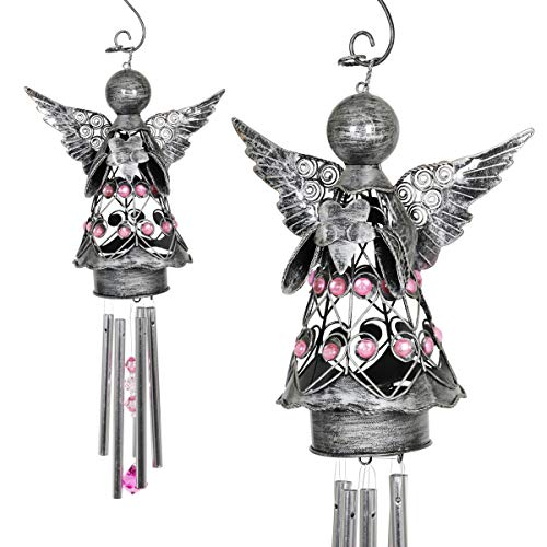 (Exhart Pewter Angel Wind Chimes - Metal Wind Chimes Patio Decor - Features Pewter Angel Wings, Pink Acrylic Beads on Body, Pink Crystals Windcatcher - Angelic Home Decor, 5.5