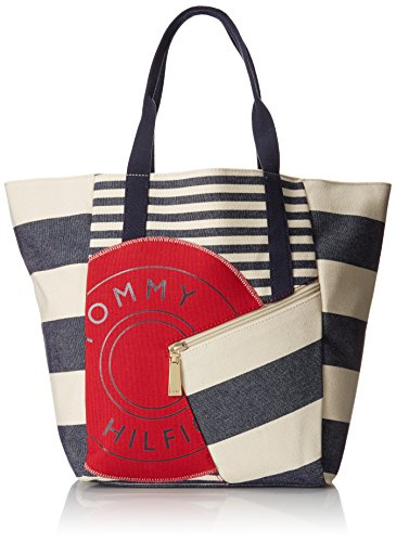 (Tommy Hilfiger Sporty Rugby Canvas Travel Tote, Navy/Natural, One)