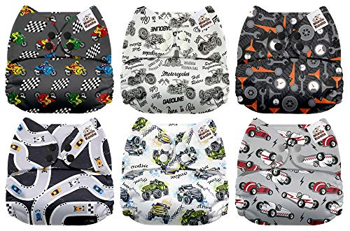 Mama Koala One Size Baby Washable Reusable Pocket Cloth Diapers, 6 Pack with 6 One Size Microfiber Inserts (Racing Car)
