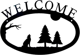 "product image for Modern Artisans Howling Wolf Welcome Sign, Wrought Iron Metal, 11.5"" x 8.0"""