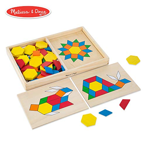 Melissa & Doug Pattern Blocks and Boards Classic Toy (Developmental Toy, Wooden Shape Blocks, Double-Sided Boards, 120 Shapes & 5 Boards)
