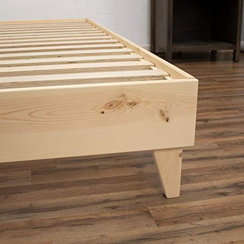 eLuxurySupply Modern Farmhouse Platform Bed with Slat Support: 100% USA Made | North American Pine Solid Wood | No Box Spring Needed | DIY | Natural Color - Unstained | Easy Assembly - Full