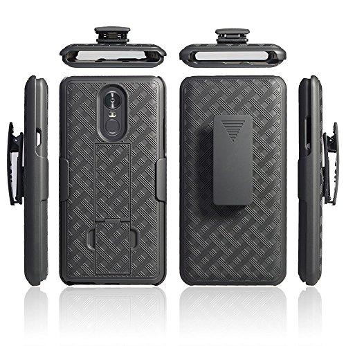 for LG Stylo 4 Case, LG Q Stylo Case, LG Stylus 4 Case Belt Clip Holster Kick Stand Rugged Shield Slip Resistant Grip Grids Bumper Cover (Black)