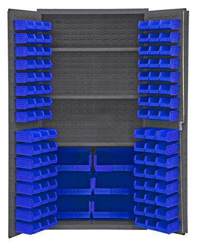 Durham 3501-BDLP-102-3S-5295 Lockable Cabinet with 102 Blue Hook-On Bins, 3 Adjustable Shelves, Flush Door Style, 36