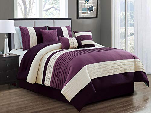 HGS 7-Pc Yuma Diamond Stripe Southwest Embroidery Pleated Comforter Set Purple Lavender Beige King
