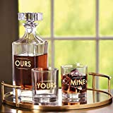 Godinger 3 Piece Whiskey Decanter Set for Liquor Scotch Bourbon or Wine, Set Includes 1 Ours Decanter & 2 DOF Yours & Mine Glasses