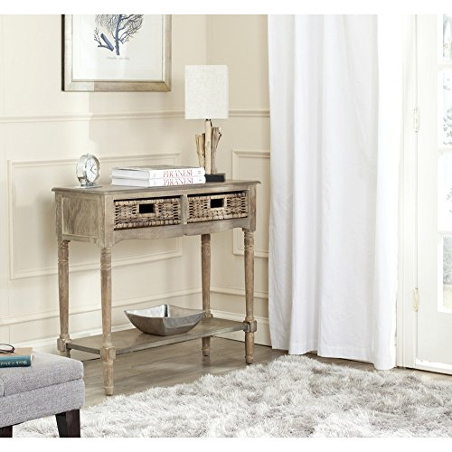 Pine Rattan Table - Safavieh American Homes Collection Corbin Washed Natural Pine Console Table