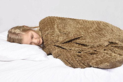 Creature Commforts Weighted 12lb Security Blanket for Adults and Teens - Great for Stress, Anxiety, ADHD, Autism, PTSD, Insomnia Relief, Removeable Comforter Cover, Extra Large, 40 x 60 (Tan Chai) by Creature Commforts