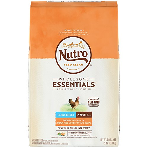 NUTRO WHOLESOME ESSENTIALS Adult Large Breed Natural Dry Dog Food Farm-Raised Chicken, Brown Rice & Sweet Potato Recipe, 15 lb. Bag