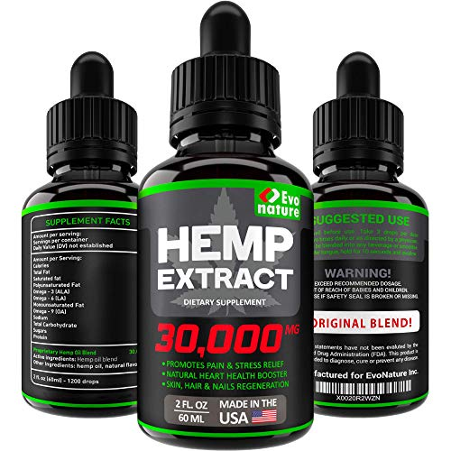 Hemp Oil 30000 MG - Extra Strength for BIO-Efficacy - 100% Natural & Safe Hemp Seed Oil - Stress & Anxiety Relief - Made in USA - Anti Inflammatory & Immunity Support - Deep Sleep & Mood Boost.