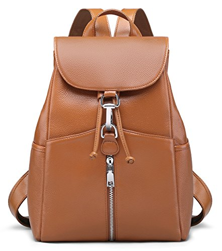 New Women Real Genuine Leather Backpack Purse vintage SchoolBag by Coolcy (Brown) (Quality Leather Brown)