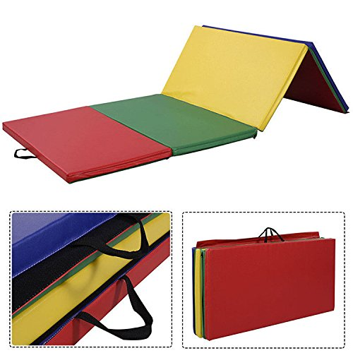 HITSAN 94x47x1.9inch Four Folding Gymnastic Mat Fitness Exercise Floor Pad Sports Protection One Piece by HITSAN