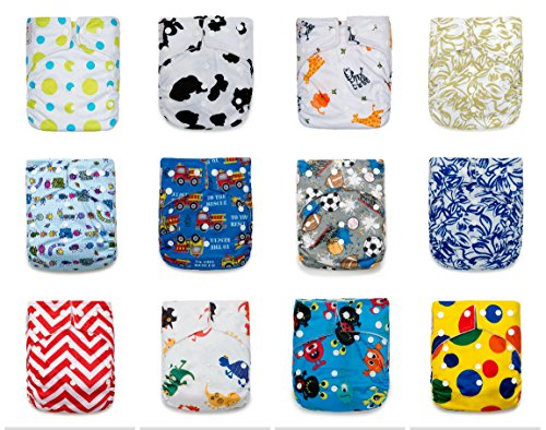 Heavy Wetter Overnight Baby Cloth Diapers Unisex One Size Adjustable Goodnight Pocket Reusable Soakers Pads for Newborn to Toddler (Pack of 12 + 24 Large Inserts) – Perfect New Mum Gift by Kawaii Baby