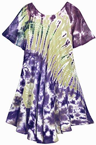 La Leela Damen-Bademode Kurz Bikini Tie-Dye-Strand Casual Dress Verschleiern Lila_3568 0ySWIt