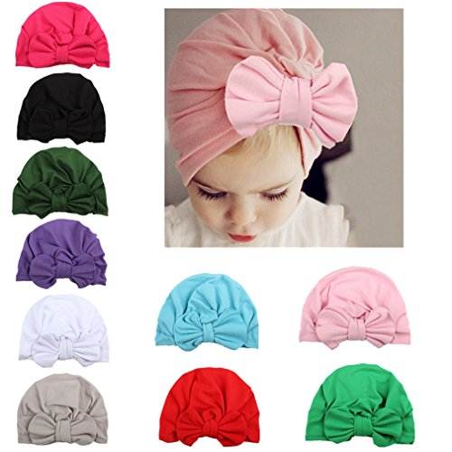 WZT 10 Pcs Newborn Elastic Sretch Head Wrap Infant Turban Toddler Baby Girl Knot (Wrap Elastic)