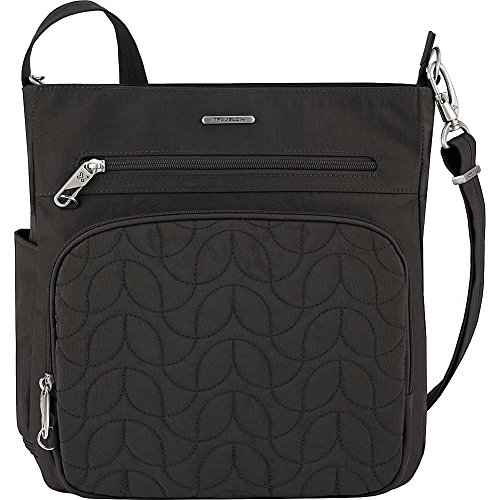 Travelon Anti-Theft Quilted North South Bag - Medium Nylon Crossbody for Travel & Everyday - (Black/Dark Emerald Interior)
