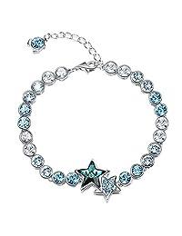 EleQueen Women's Silver-tone Round Dual Star Tennis Bracelet Aquamarine Color Adorned with Swarovski? Crystals