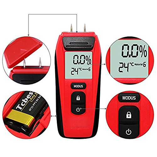 Moisture Meter,Digital Wood Moisture Meter Tester for Wood Plant LCD Display Wood Moisture Meter