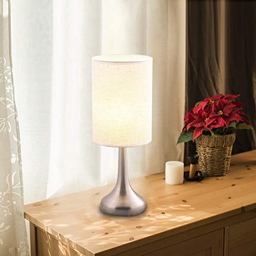 Lintat 15.4 H Brushed Nickel Metal Base Bedside Table Lamp with Fabric Shade Not Dimmable Nightstand, Desk Lamp with Soft Ambient Light for Living Room, Bedroom, College Dorm, Hotel