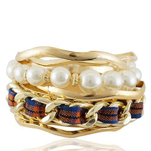 Set Of 7 Pcs Mix & Match Gold Plated With Pearl Curb Bangle Bracelets