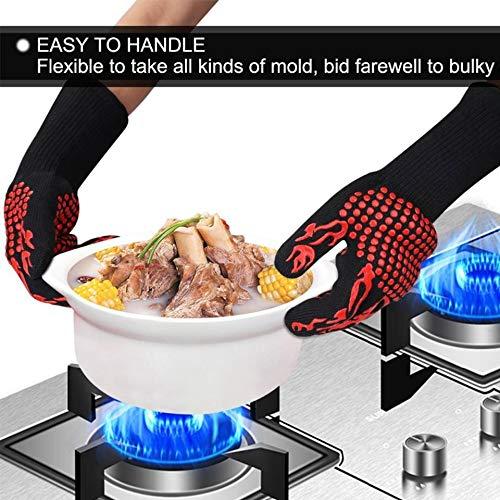 Protecci/ón Guantes para BBQ Horno Hornear Cocina. 800 /°C Resistente Al Calor Guantes Antideslizante con Silicona NATUCE Guantes Barbacoa 1472 /°F