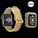 for Apple Watch Band 42mm Apple Watch case iWatch Band for Women Bling Stylish Glitter Silicone Sports Replacement Strap for Apple Watch Series3/2/1 (42mm-Gold Band Bumper Set)