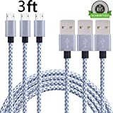 AOKER 3pcs 3ft Nylon Braided High Speed 2.0 USB to Micro USB Charging Cord Fast Charger Cable for Samsung Galaxy S7/S6/S5/Edge,Note 5/4/3,HTC,LG,Nexus and More gray