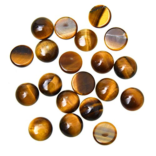 Monrocco 20pcs 10mm Natural Stone Round Cabochons Flatbacks Yellow Tiger Eye Cabochons ()